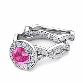 Infinity Diamond and Pink Sapphire Engagement Ring Bridal Set in Platinum, 7mm