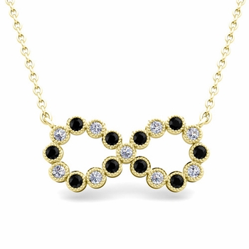Milgrain Black and White Diamond Necklace in 18k Gold Infinity Pendant