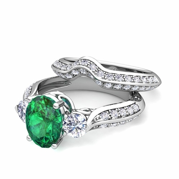 Vintage Inspired Diamond and Emerald Three Stone Ring Bridal Set in 14k Gold, 8x6mm