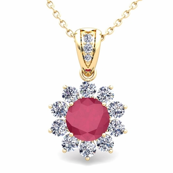 Halo Diamond and Ruby Pendant in 18k Gold Necklace 6mm