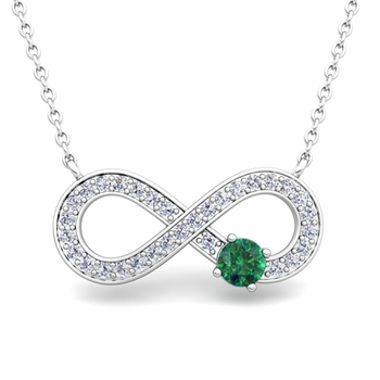 Solitaire Emerald and Diamond Infinity Necklace in 14k White or Yellow Gold