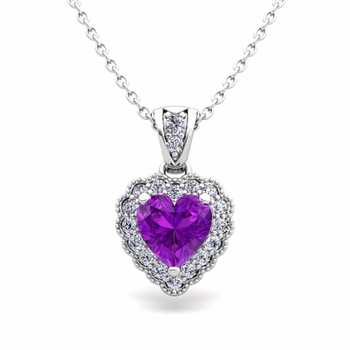 Milgrain Diamond and Amethyst Heart Necklace in 14k Gold Pendant