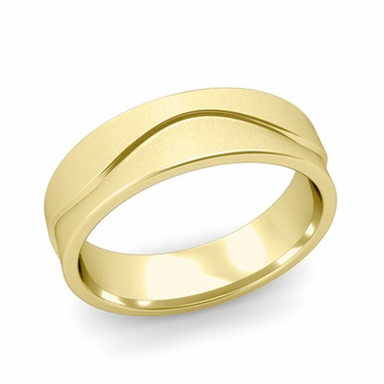 Wave Wedding Band in 18k Gold Comfort Fit Ring, Satin Finish, 6mm