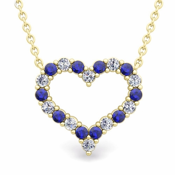 Pave Diamond and Sapphire Heart Necklace in 18k Gold Pendant