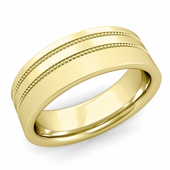 Double Milgrain Wedding Ring in 18k Gold Comfort Fit Band, Satin Finish, 7mm