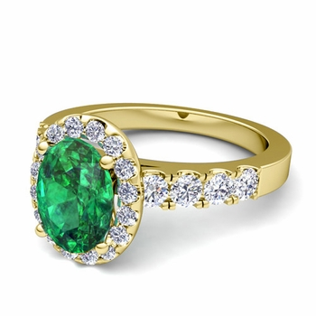 Brilliant Pave Set Diamond and Emerald Halo Engagement Ring in 18k Gold, 7x5mm