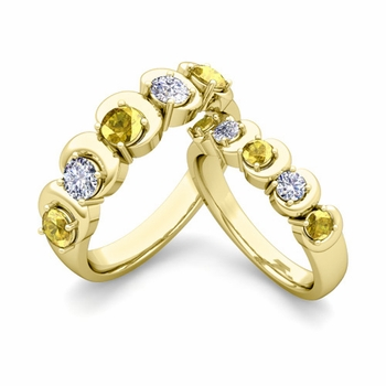 His and Hers Matching Wedding Band in 18k Gold 5 Stone Diamond and Yellow Sapphire Ring