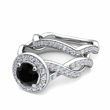 Infinity Black and White Diamond Engagement Ring Bridal Set in 14k Gold, 7mm