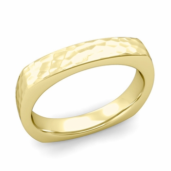 Square Comfort Fit Wedding Ring in 18K Gold Matte Hammered Band, 4mm