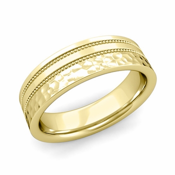 Double Milgrain Wedding Ring in 18k Gold Comfort Fit Band, Hammered Finish, 6mm