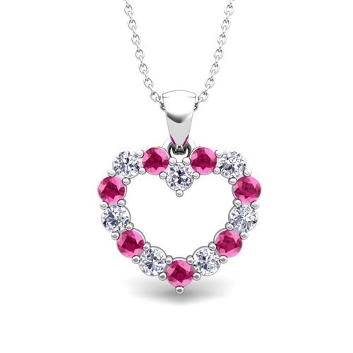 Heart Diamond And Pink Sapphire Necklace In 14k Gold Pendant
