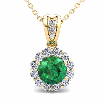 Diamond and Emerald Pendant in 18k Gold Halo Necklace 6mm