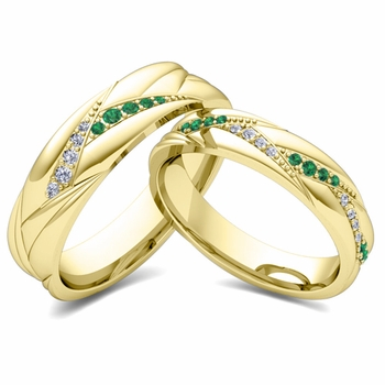 Matching Wave Wedding Band in 18k Gold Emerald and Diamond Ring