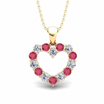 Heart Diamond and Ruby Necklace in 18k Gold Pendant