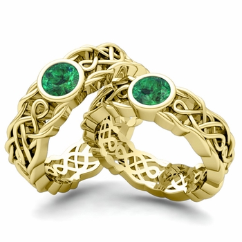 Matching Wedding Band in 18k Gold Solitaire Emerald Ring