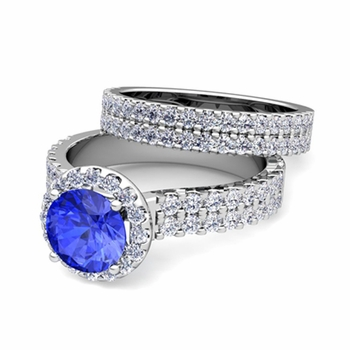 Two Row Diamond and Ceylon Sapphire Engagement Ring Bridal Set in 14k Gold, 7mm