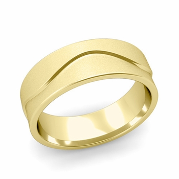 Wave Wedding Band in 18k Gold Comfort Fit Ring, Satin Finish, 7mm