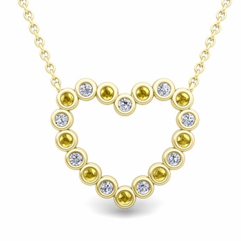 Bezel Diamond and Yellow Sapphire Heart Necklace in 18k Gold Pendant