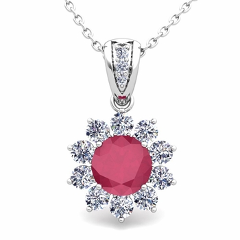 Halo Diamond and Ruby Pendant in 14k Gold Necklace 6mm