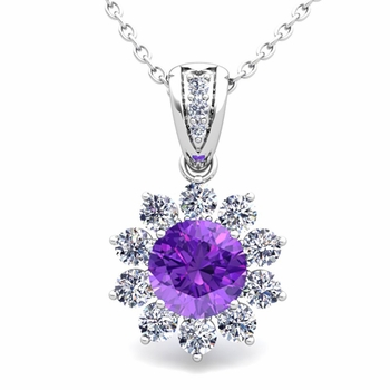 Halo Diamond and Amethyst Pendant in 14k Gold Necklace 6mm