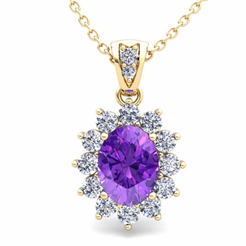 Diamond and Amethyst Necklace in 18k Gold Halo Pendant 8x6mm