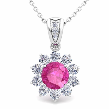 Halo Diamond and Pink Sapphire Pendant in 14k Gold Necklace 6mm