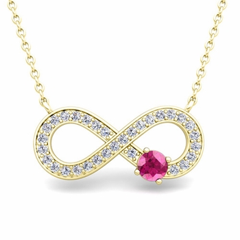 Solitaire Pink Sapphire and Diamond Infinity Necklace in 18k White or Yellow Gold