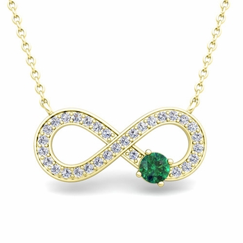 Solitaire Emerald and Diamond Infinity Necklace in 18k White or Yellow Gold