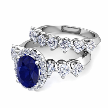 Bridal Set of Crown Set Diamond and Sapphire Engagement Wedding Ring in 14k Gold, 7x5mm