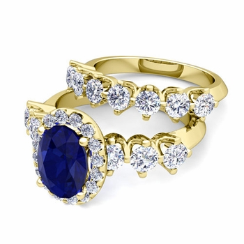 Bridal Set of Crown Set Diamond and Sapphire Engagement Wedding Ring in 18k Gold, 7x5mm