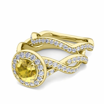 Infinity Diamond and Yellow Sapphire Engagement Ring Bridal Set in 18k Gold, 7mm
