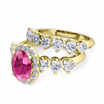 Bridal Set of Crown Set Diamond and Pink Sapphire Engagement Wedding Ring in 18k Gold, 7x5mm