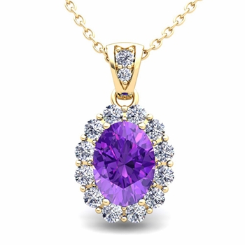 Halo Diamond and Amethyst Necklace in 18k Gold Pendant 8x6mm