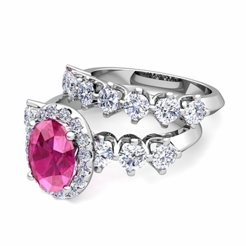 Bridal Set of Crown Set Diamond and Pink Sapphire Engagement Wedding Ring in Platinum, 7x5mm