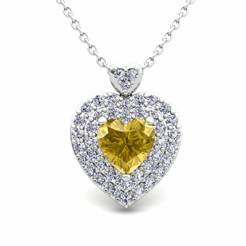 Two Heart Diamond and Yellow Sapphire Necklace in 14k Gold Pendant