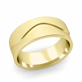 Wave Wedding Band in 18k Gold Comfort Fit Ring, Satin Finish, 8mm