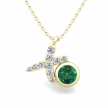 Pave Diamond and Solitaire Emerald in 18k Gold XO Pendant