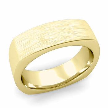 Square Comfort Fit Wedding Ring in 18K Gold Matte Brushed Band, 7mm
