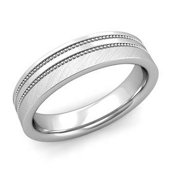 Double Milgrain Wedding Ring in Platinum Comfort Fit Band, Mixed Brushed Finish, 5mm