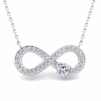 Solitaire Diamond Infinity Necklace in 14k White or Yellow Gold