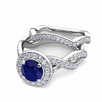Infinity Diamond and Sapphire Engagement Ring Bridal Set in Platinum, 7mm