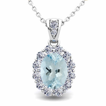 Halo Diamond and Aquamarine Necklace in 14k Gold Pendant 8x6mm
