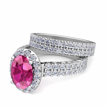 Two Row Diamond and Pink Sapphire Engagement Ring Bridal Set in 14k Gold, 9x7mm