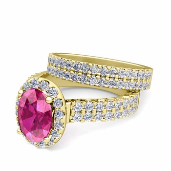 Two Row Diamond and Pink Sapphire Engagement Ring Bridal Set in 18k Gold, 9x7mm
