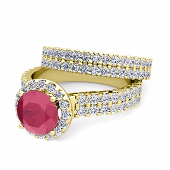Two Row Diamond and Ruby Engagement Ring Bridal Set in 18k Gold, 6mm