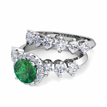 Bridal Set of Crown Set Diamond and Emerald Engagement Wedding Ring in Platinum, 7mm