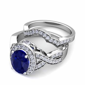 Infinity Diamond and Sapphire Engagement Ring Bridal Set in Platinum, 7x5mm