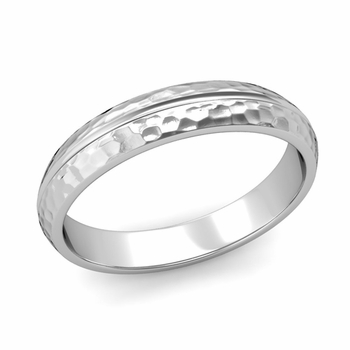 Carved Comfort Fit Wedding Ring in 14k Gold Matte Hammered Band, 4mm