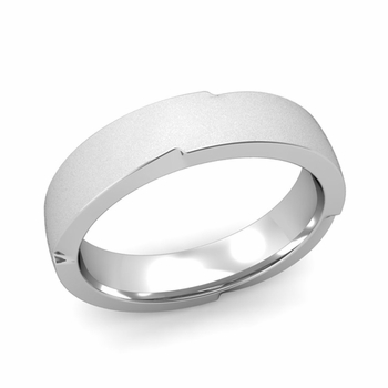 Unique Comfort Fit Wedding Band with Matte Satin Finish in Platinum Band, 5mm