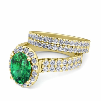 Two Row Diamond and Emerald Engagement Ring Bridal Set in 18k Gold, 7x5mm